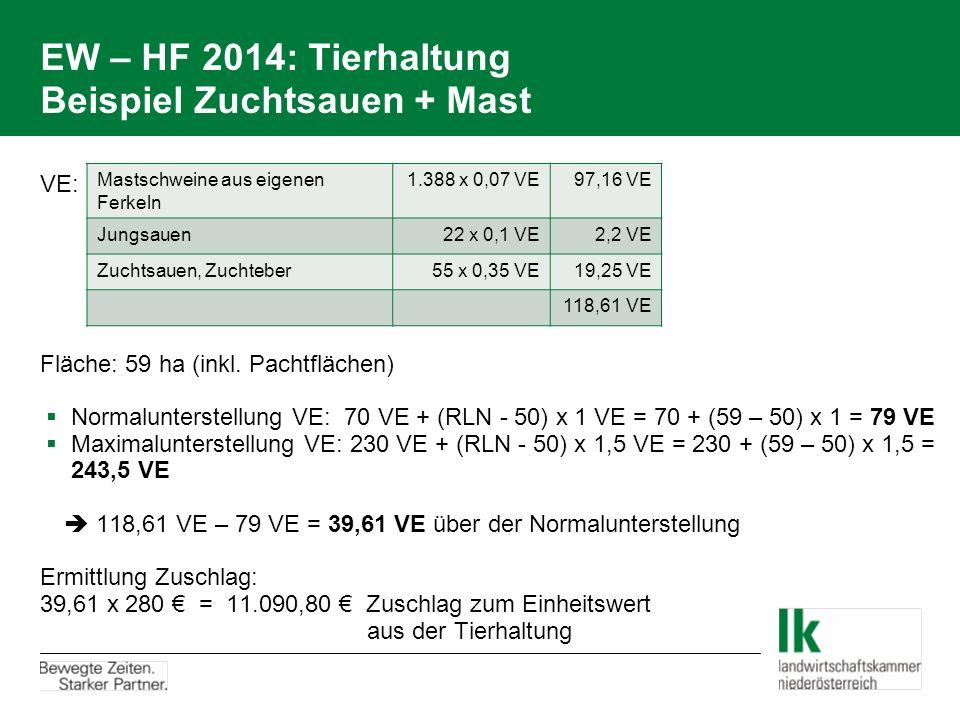 EW – HF 2014: Tierhaltung Beispiel Zuchtsauen + Mast