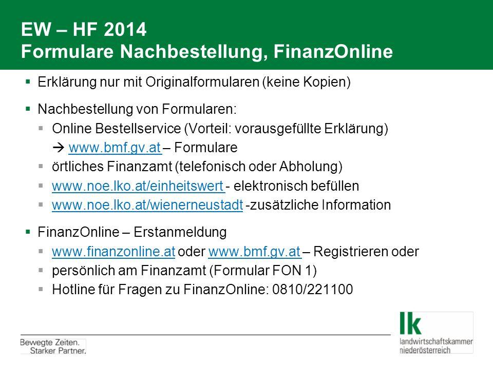 EW – HF 2014 Formulare Nachbestellung, FinanzOnline