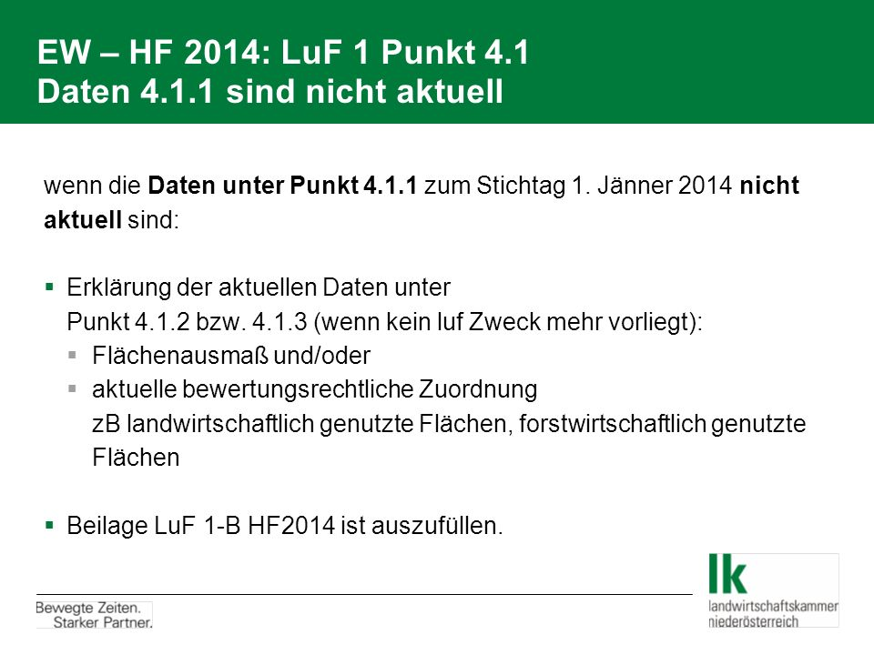 EW – HF 2014: LuF 1 Punkt 4.1 Daten 4.1.1 sind nicht aktuell