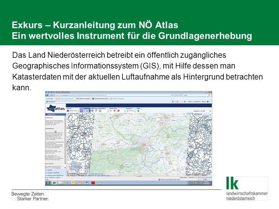 Exkurs – Kurzanleitung zum NÖ Atlas Ein wertvolles Instrument für die Grundlagenerhebung