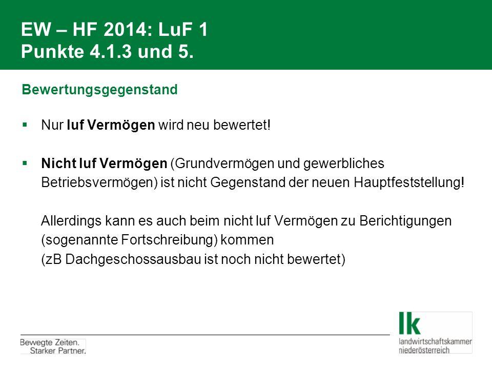 EW – HF 2014: LuF 1 Punkte 4.1.3 und 5. Bewertungsgegenstand