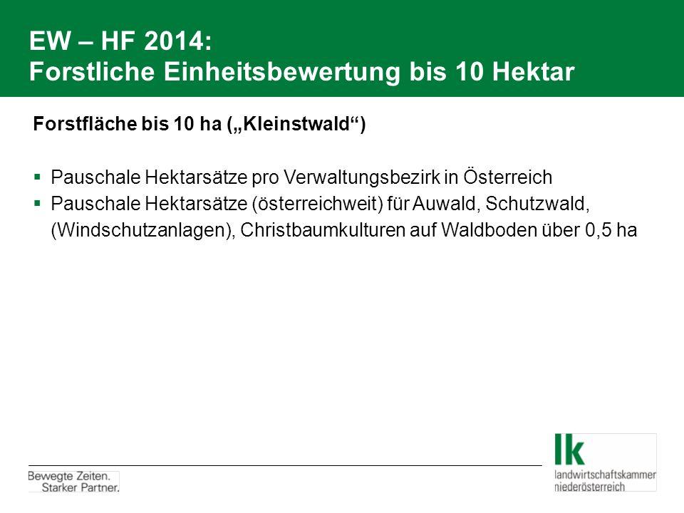 EW – HF 2014: Forstliche Einheitsbewertung bis 10 Hektar