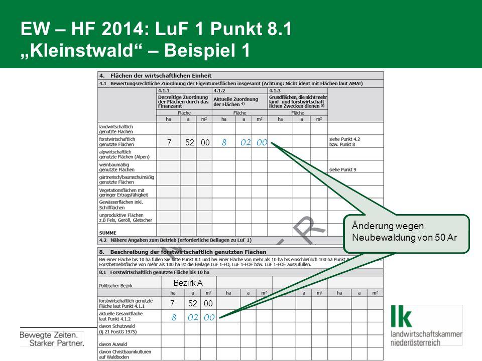 """EW – HF 2014: LuF 1 Punkt 8.1 """"Kleinstwald – Beispiel 1"""