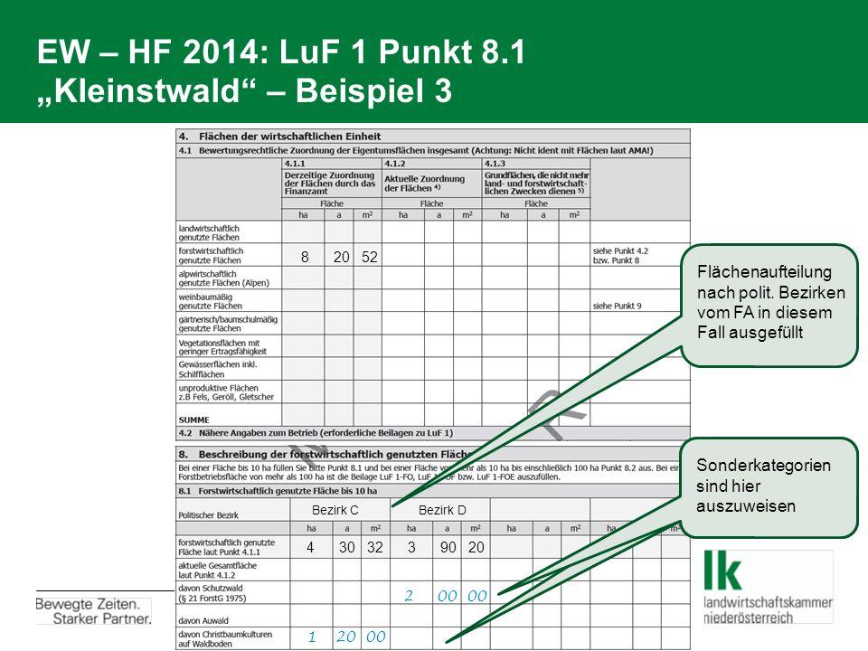 """EW – HF 2014: LuF 1 Punkt 8.1 """"Kleinstwald – Beispiel 3"""