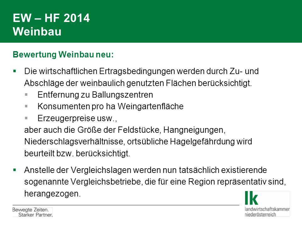 EW – HF 2014 Weinbau Bewertung Weinbau neu: