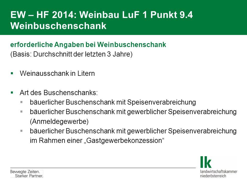 EW – HF 2014: Weinbau LuF 1 Punkt 9.4 Weinbuschenschank