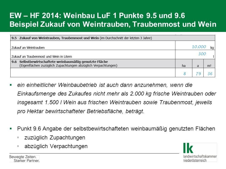 EW – HF 2014: Weinbau LuF 1 Punkte 9. 5 und 9