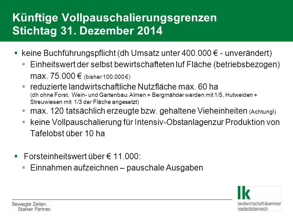 Künftige Vollpauschalierungsgrenzen Stichtag 31. Dezember 2014