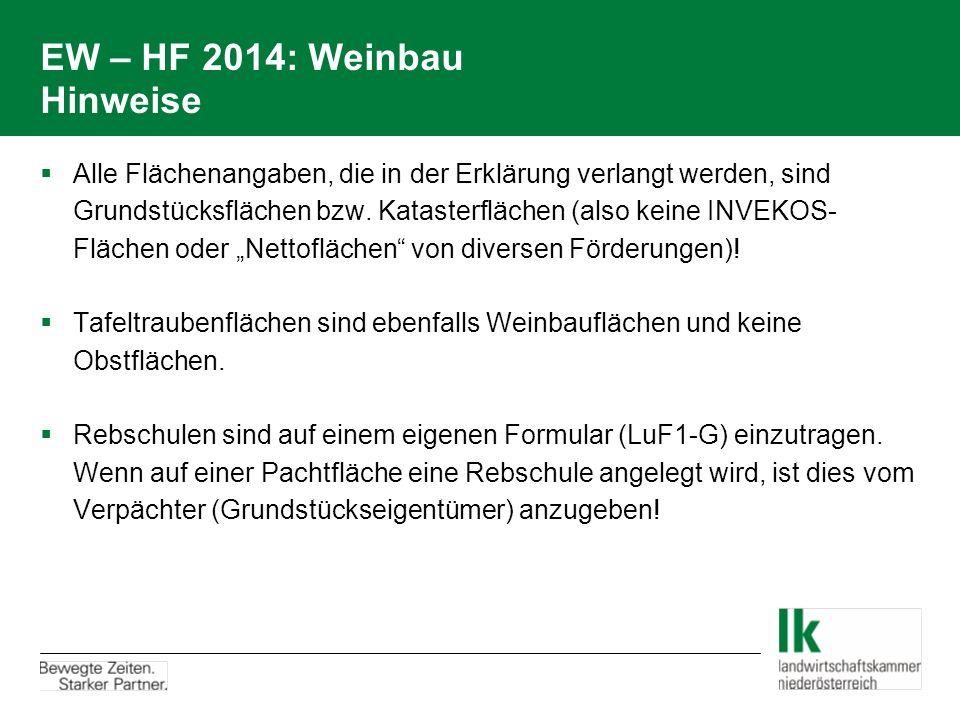 EW – HF 2014: Weinbau Hinweise