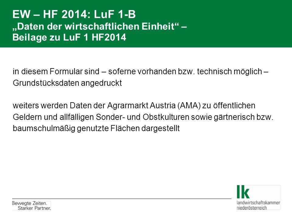 """EW – HF 2014: LuF 1-B """"Daten der wirtschaftlichen Einheit – Beilage zu LuF 1 HF2014"""