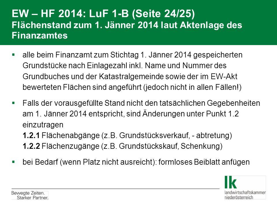 EW – HF 2014: LuF 1-B (Seite 24/25) Flächenstand zum 1