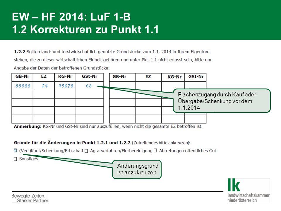 EW – HF 2014: LuF 1-B 1.2 Korrekturen zu Punkt 1.1