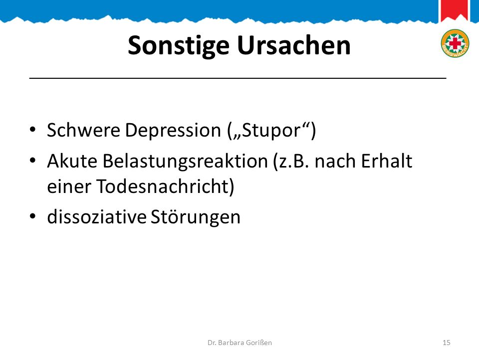 """Sonstige Ursachen Schwere Depression (""""Stupor )"""