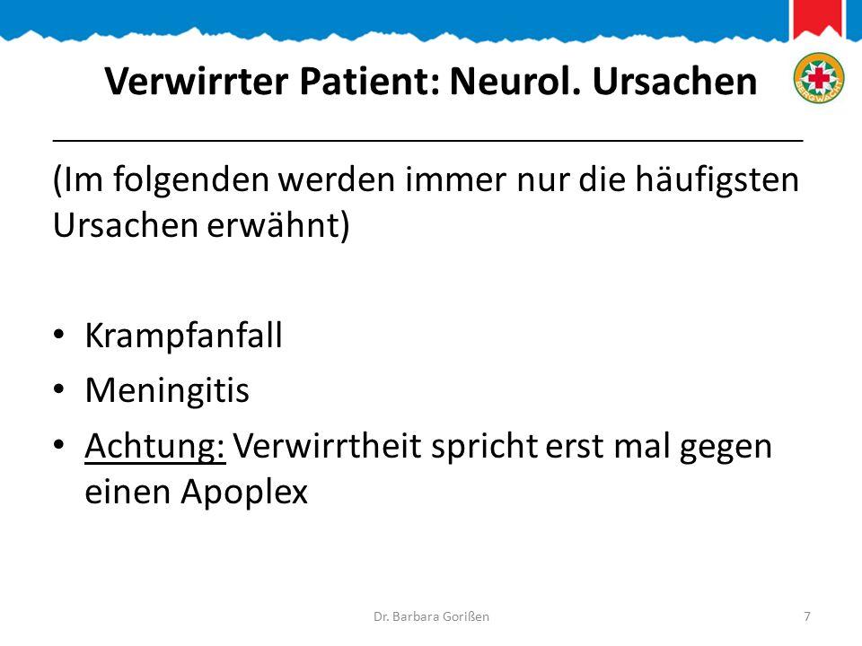 Verwirrter Patient: Neurol. Ursachen