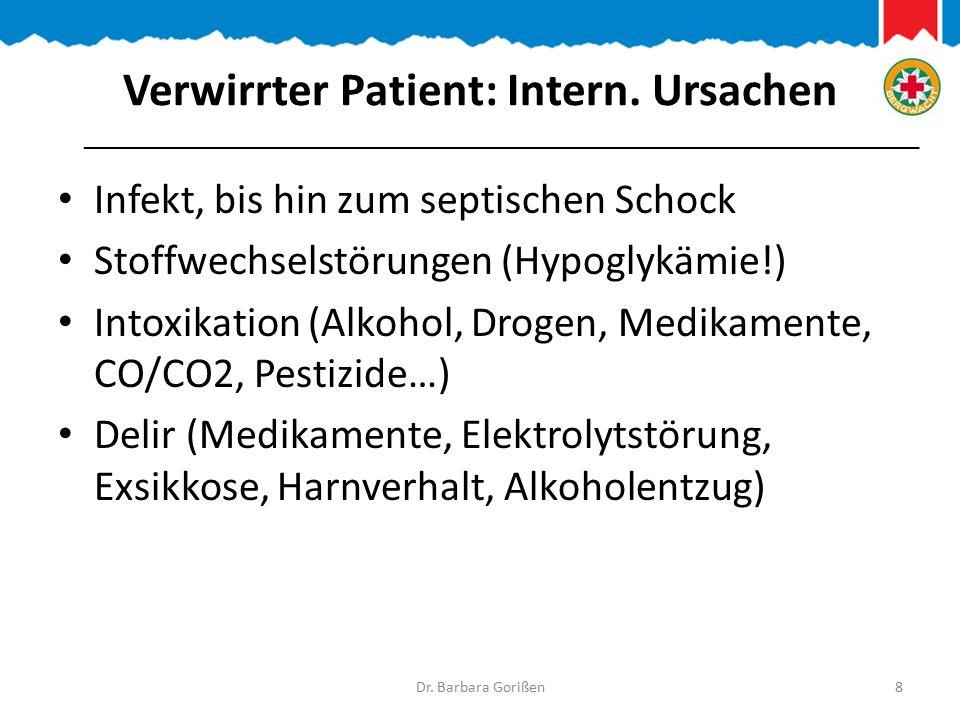 Verwirrter Patient: Intern. Ursachen