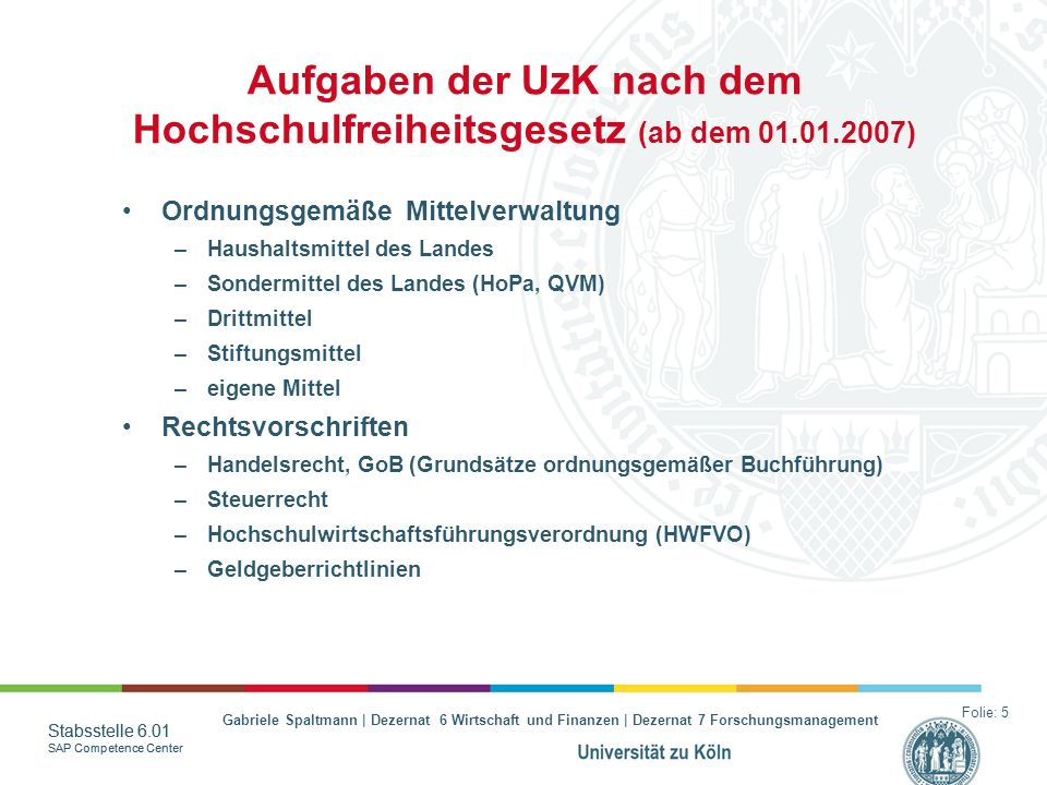 Aufgaben der UzK nach dem Hochschulfreiheitsgesetz (ab dem 01.01.2007)