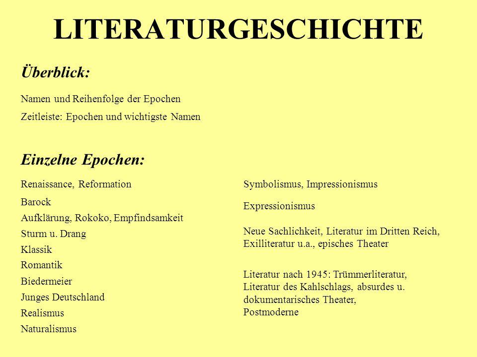 LITERATURGESCHICHTE Überblick: Einzelne Epochen: