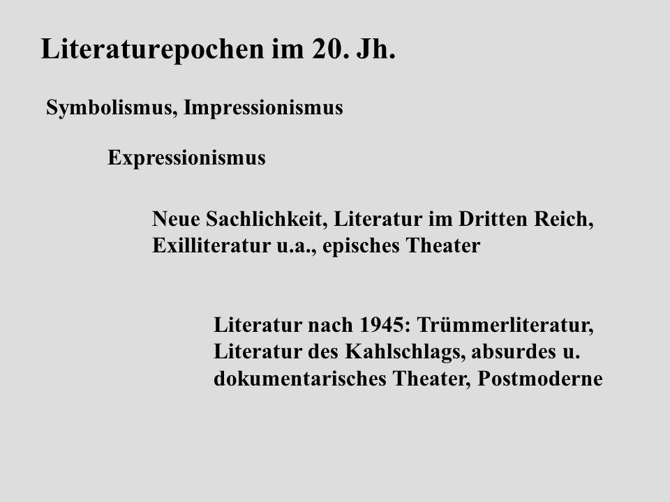 Literaturepochen im 20. Jh.