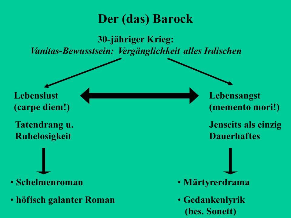 Der (das) Barock 30-jähriger Krieg: Vanitas-Bewusstsein: Vergänglichkeit alles Irdischen. Lebenslust (carpe diem!)