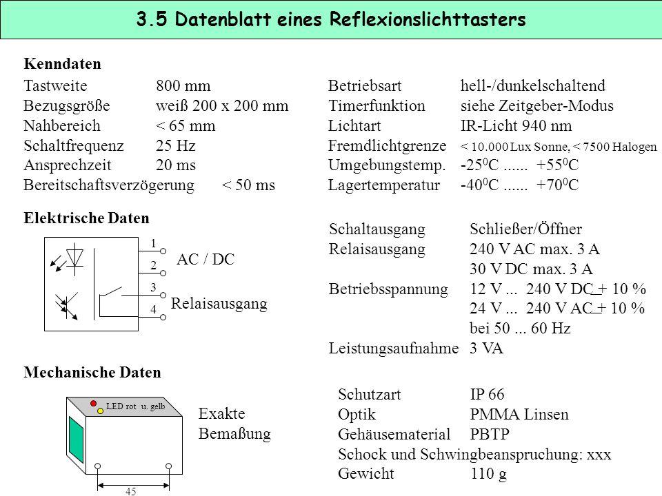 3.5 Datenblatt eines Reflexionslichttasters