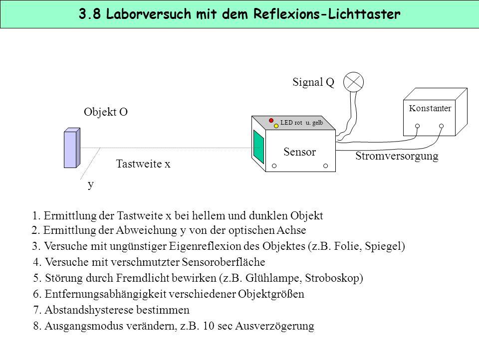 3.8 Laborversuch mit dem Reflexions-Lichttaster