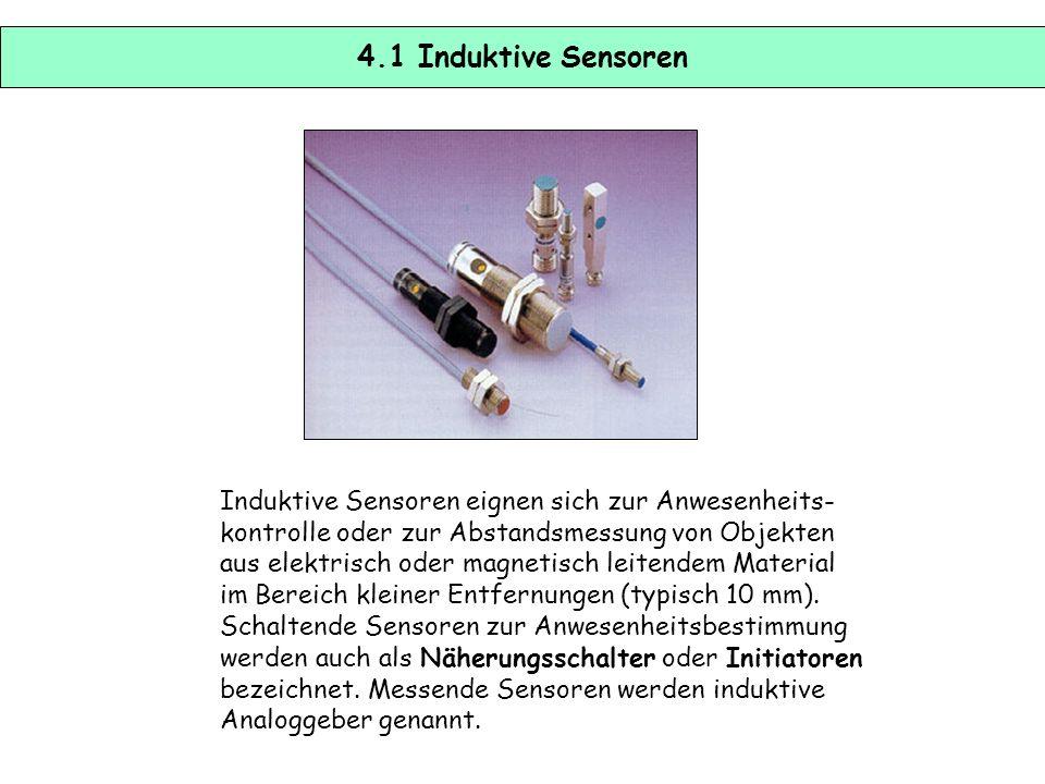 4.1 Induktive Sensoren Induktive Sensoren eignen sich zur Anwesenheits- kontrolle oder zur Abstandsmessung von Objekten.