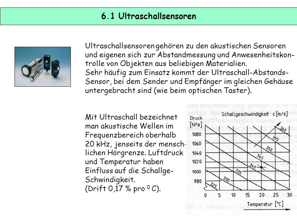 6.1 Ultraschallsensoren Ultraschallsensoren gehören zu den akustischen Sensoren. und eigenen sich zur Abstandmessung und Anwesenheitskon-