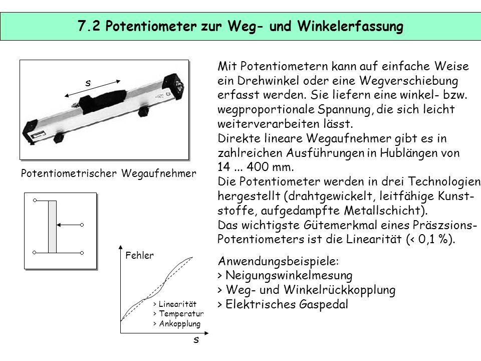 7.2 Potentiometer zur Weg- und Winkelerfassung