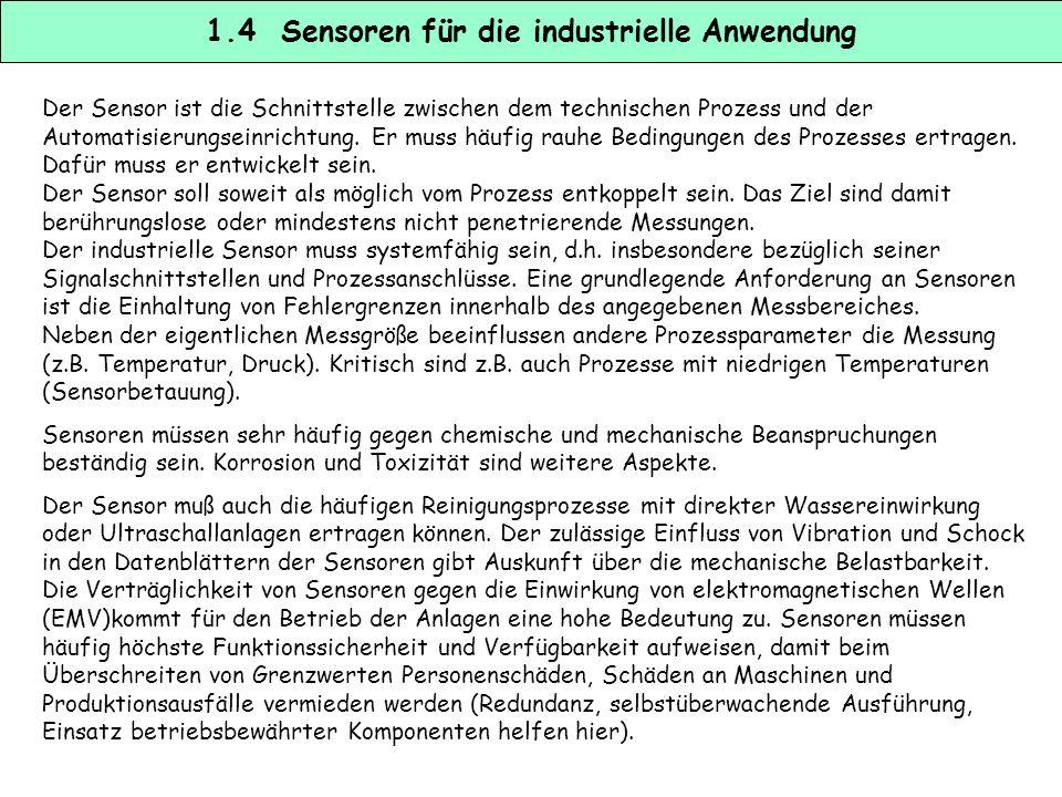 1.4 Sensoren für die industrielle Anwendung