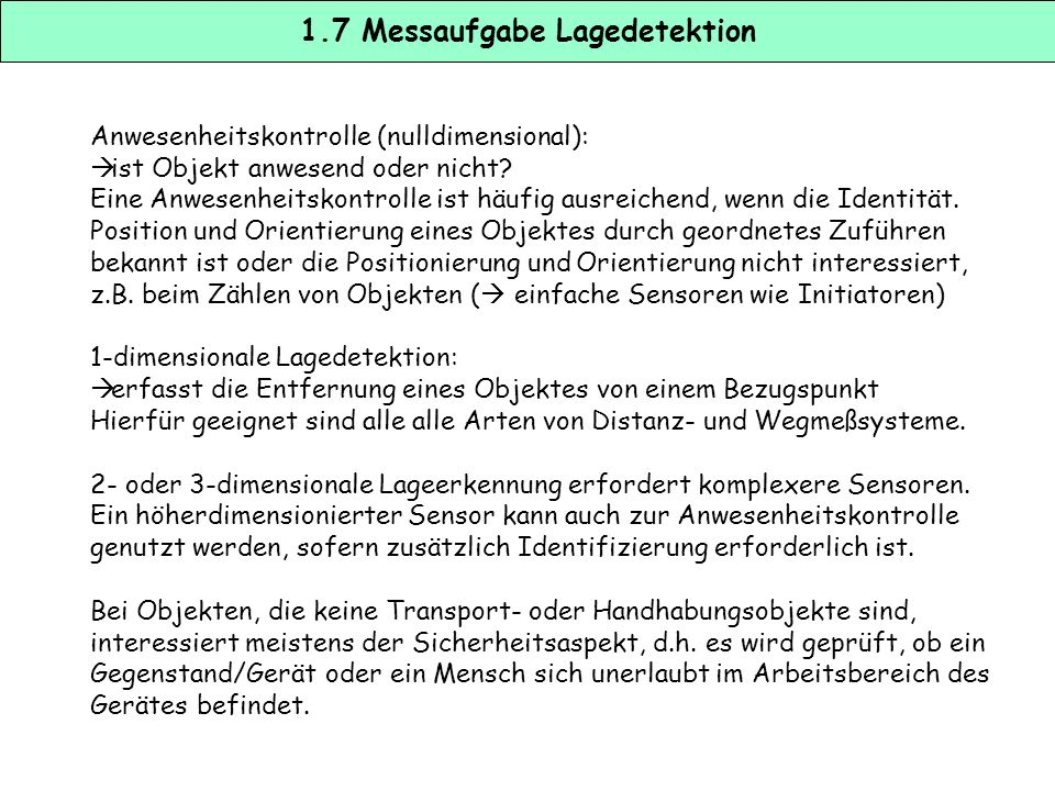 1.7 Messaufgabe Lagedetektion