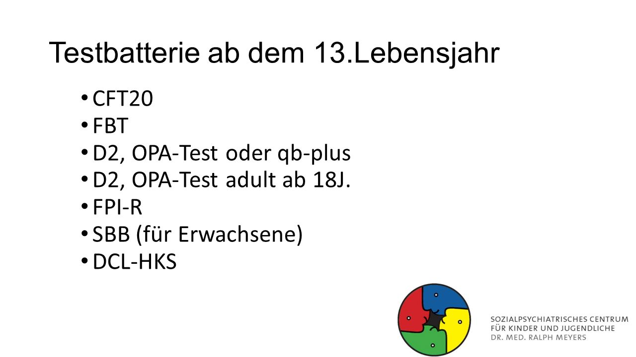 Testbatterie ab dem 13.Lebensjahr