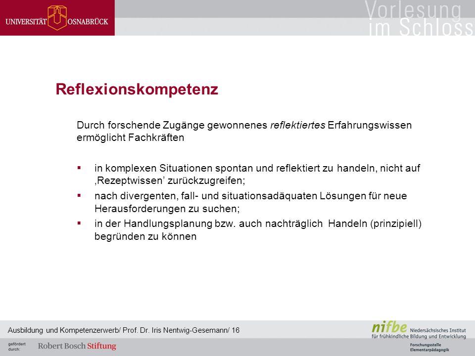 Reflexionskompetenz Durch forschende Zugänge gewonnenes reflektiertes Erfahrungswissen ermöglicht Fachkräften.