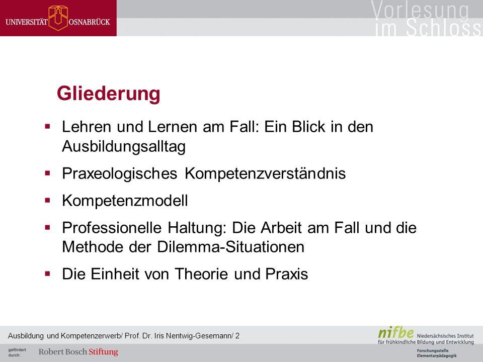 Gliederung Lehren und Lernen am Fall: Ein Blick in den Ausbildungsalltag. Praxeologisches Kompetenzverständnis.