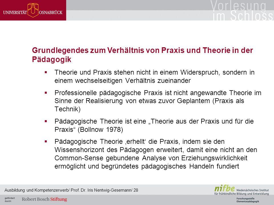 Grundlegendes zum Verhältnis von Praxis und Theorie in der Pädagogik