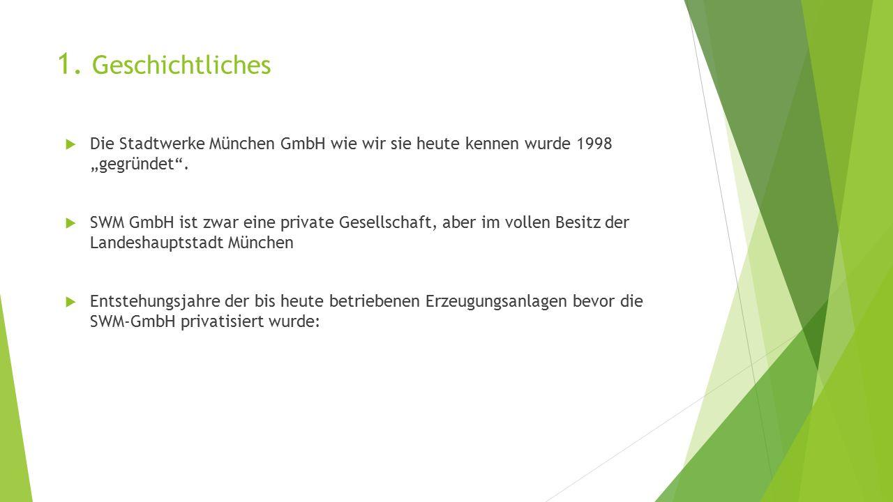 """1. Geschichtliches Die Stadtwerke München GmbH wie wir sie heute kennen wurde 1998 """"gegründet ."""