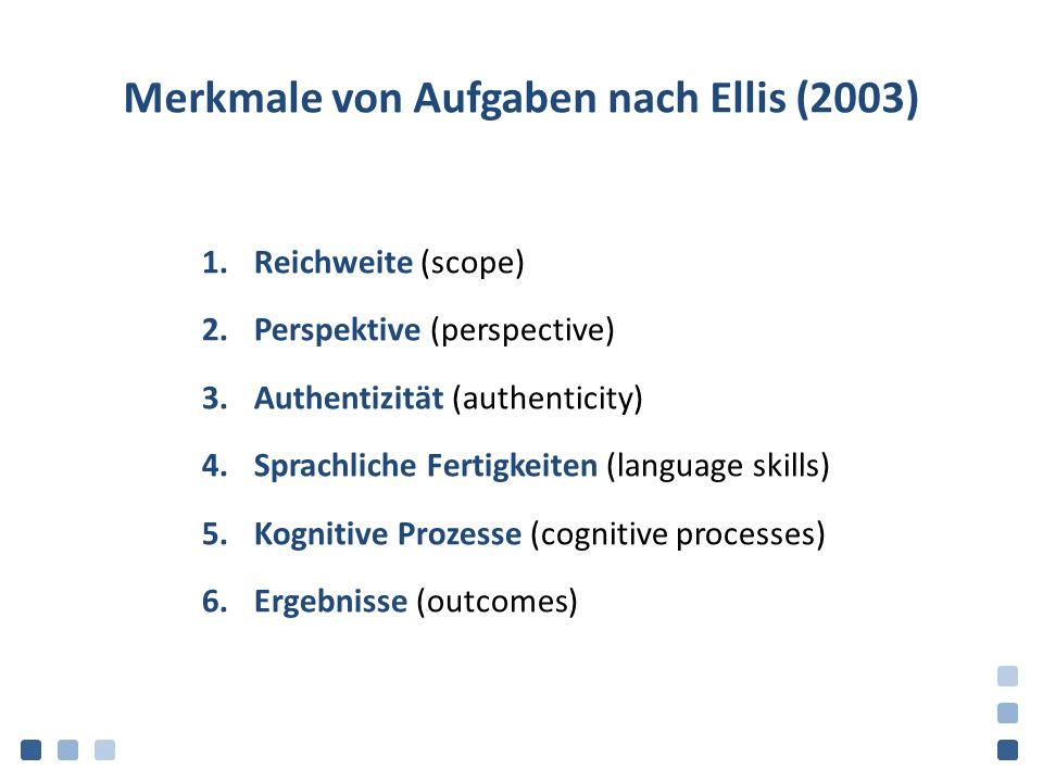 Merkmale von Aufgaben nach Ellis (2003)