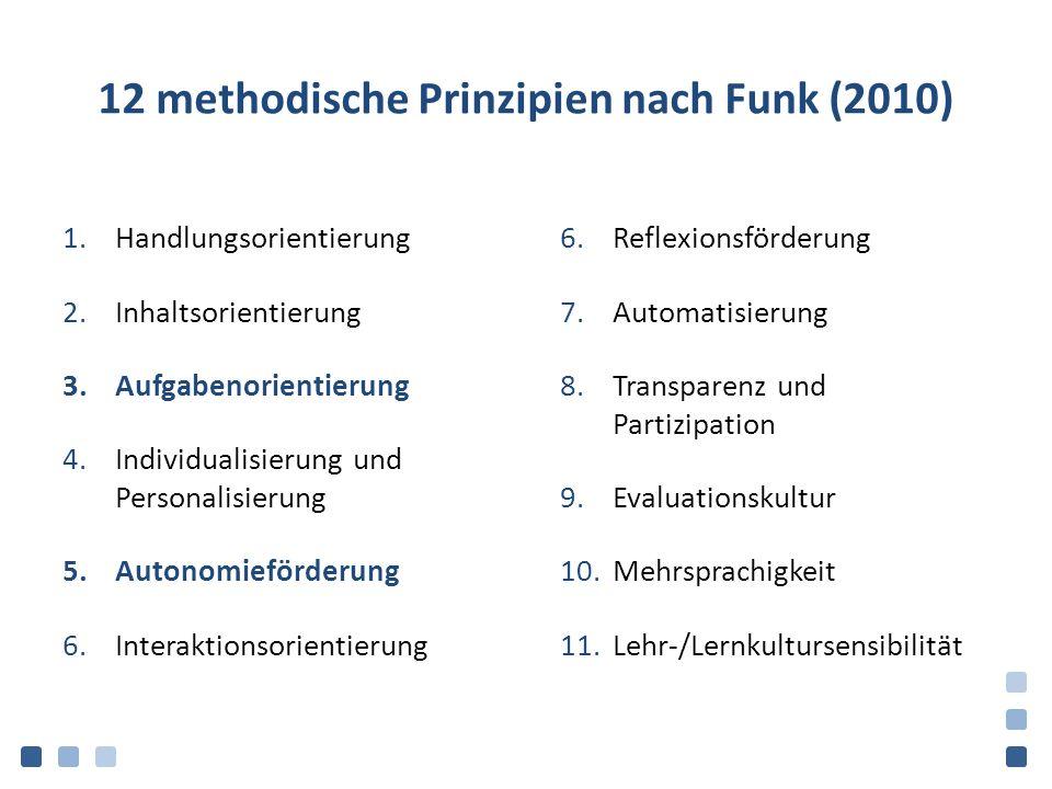 12 methodische Prinzipien nach Funk (2010)