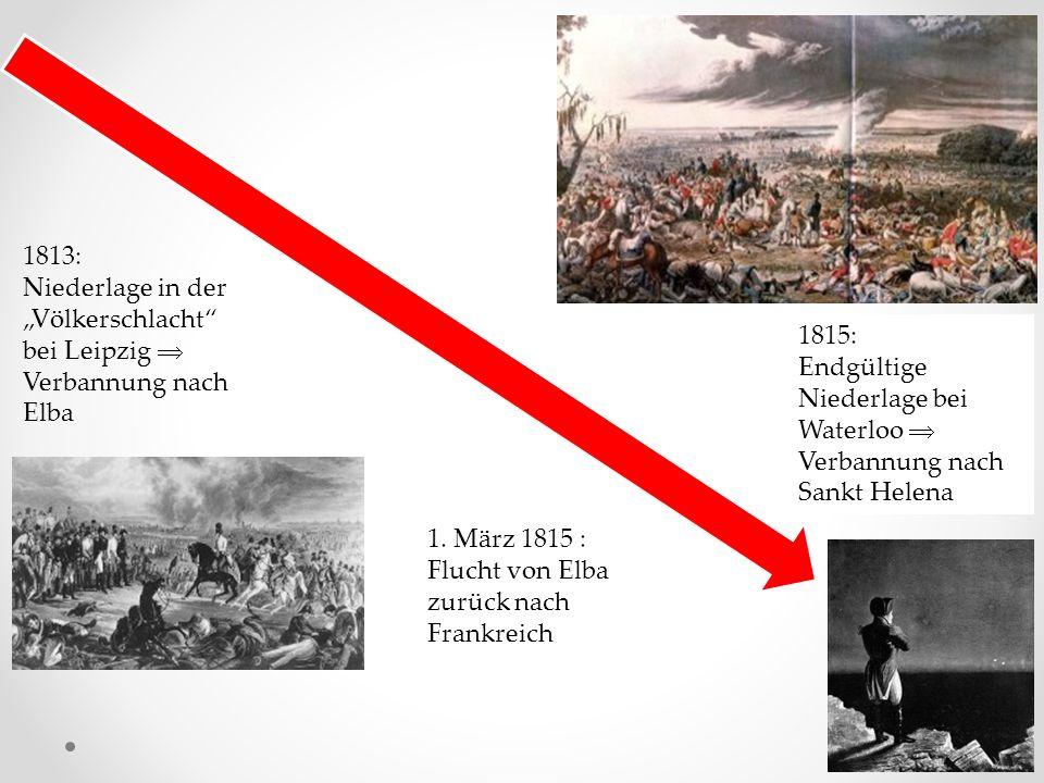 """1813: Niederlage in der """"Völkerschlacht bei Leipzig  Verbannung nach Elba"""