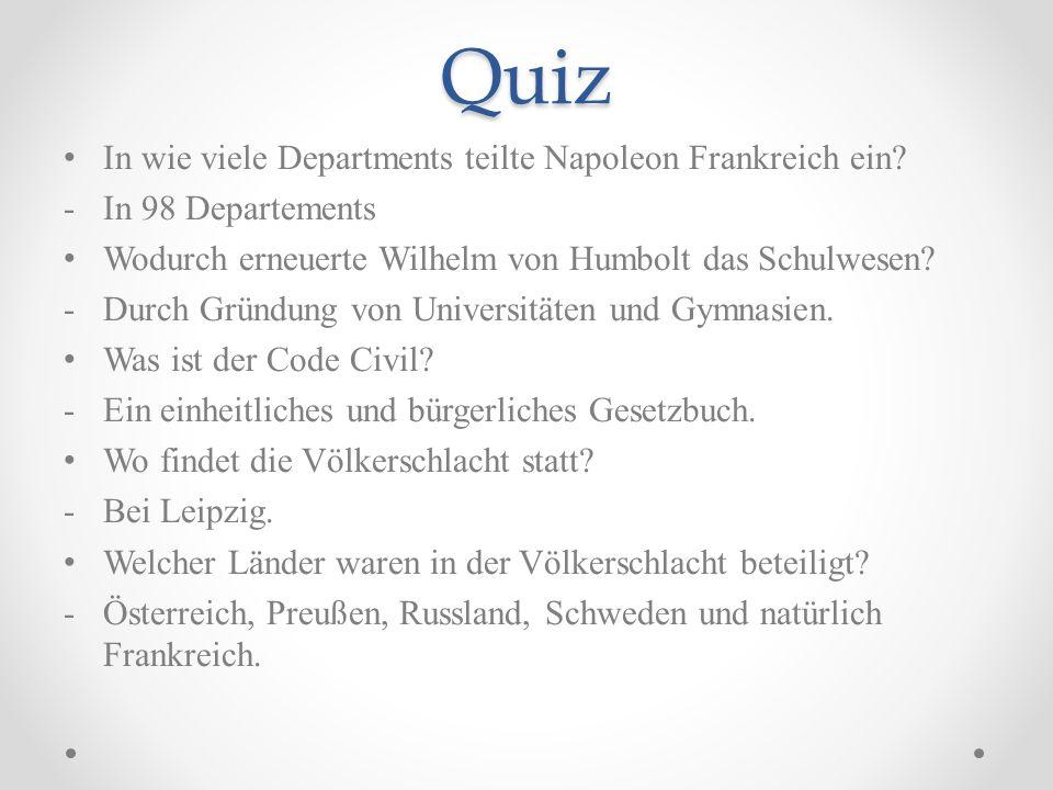 Quiz In wie viele Departments teilte Napoleon Frankreich ein