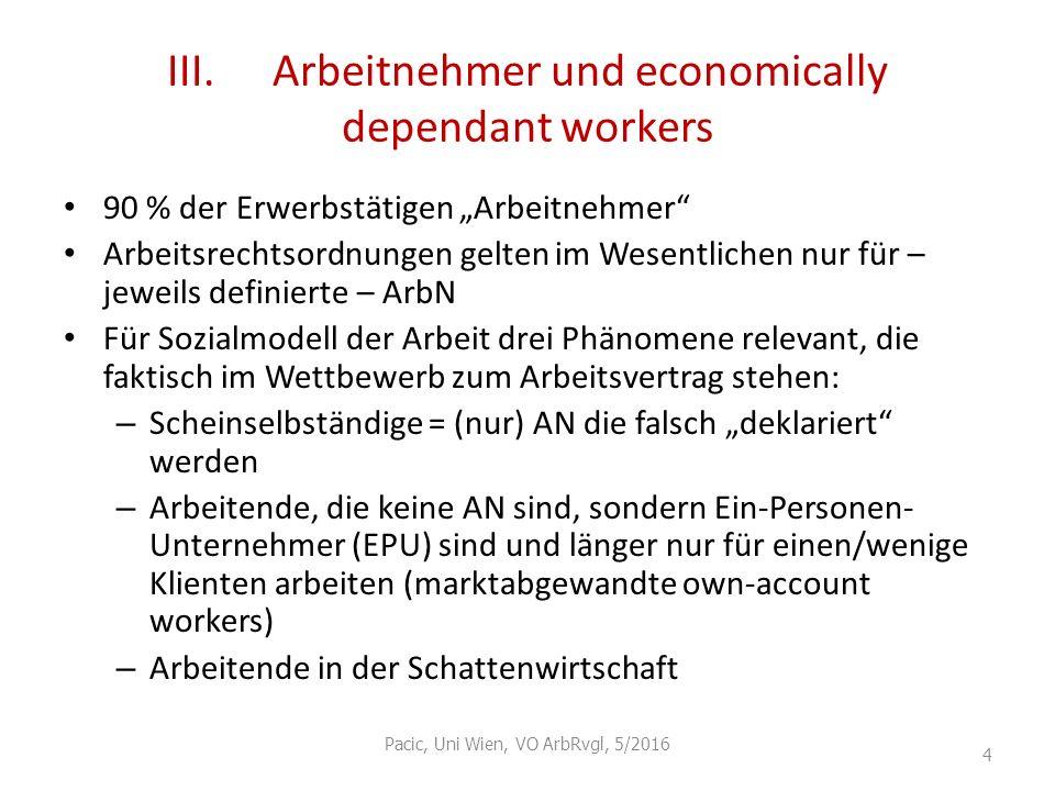 III. Arbeitnehmer und economically dependant workers