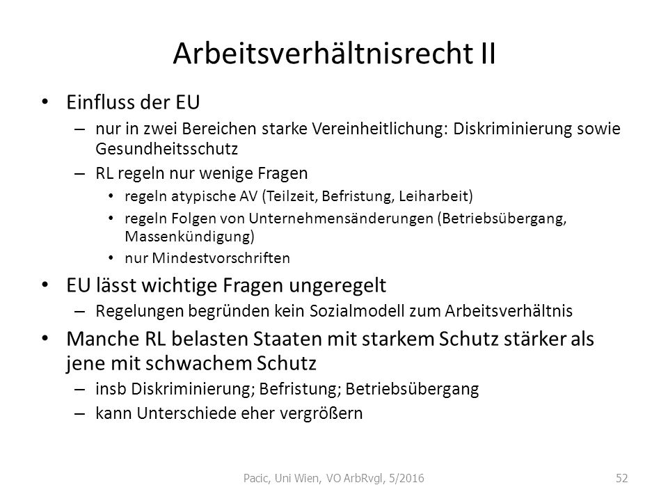 Arbeitsverhältnisrecht II