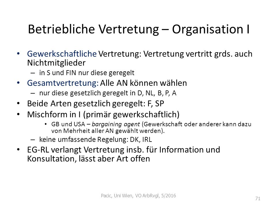 Betriebliche Vertretung – Organisation I