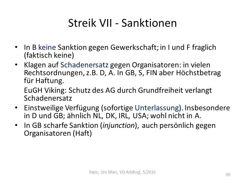 Streik VII - Sanktionen