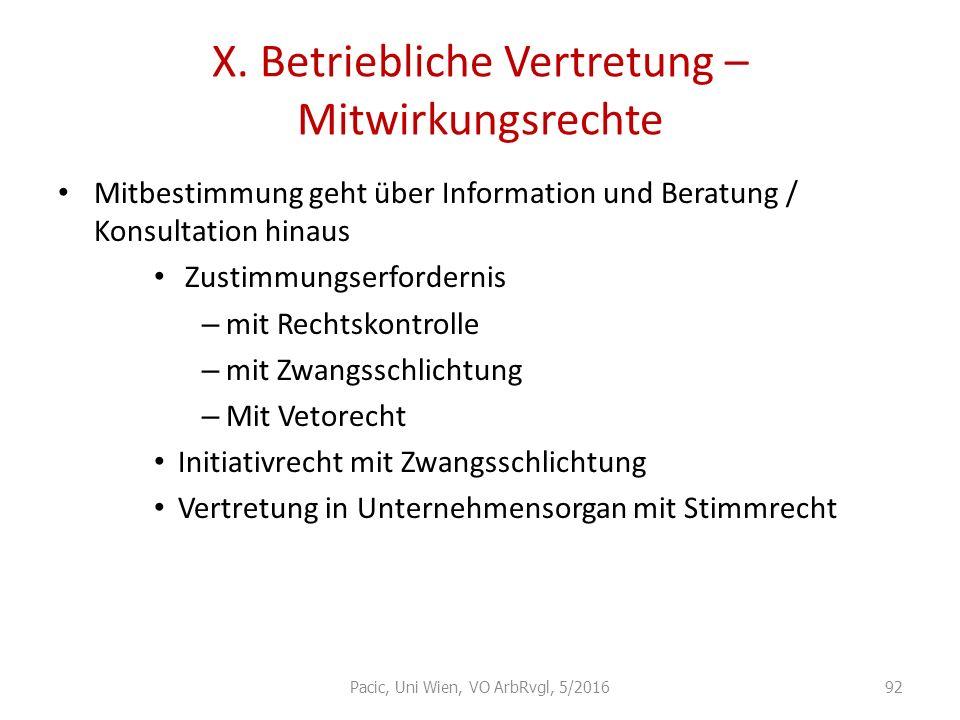 X. Betriebliche Vertretung – Mitwirkungsrechte