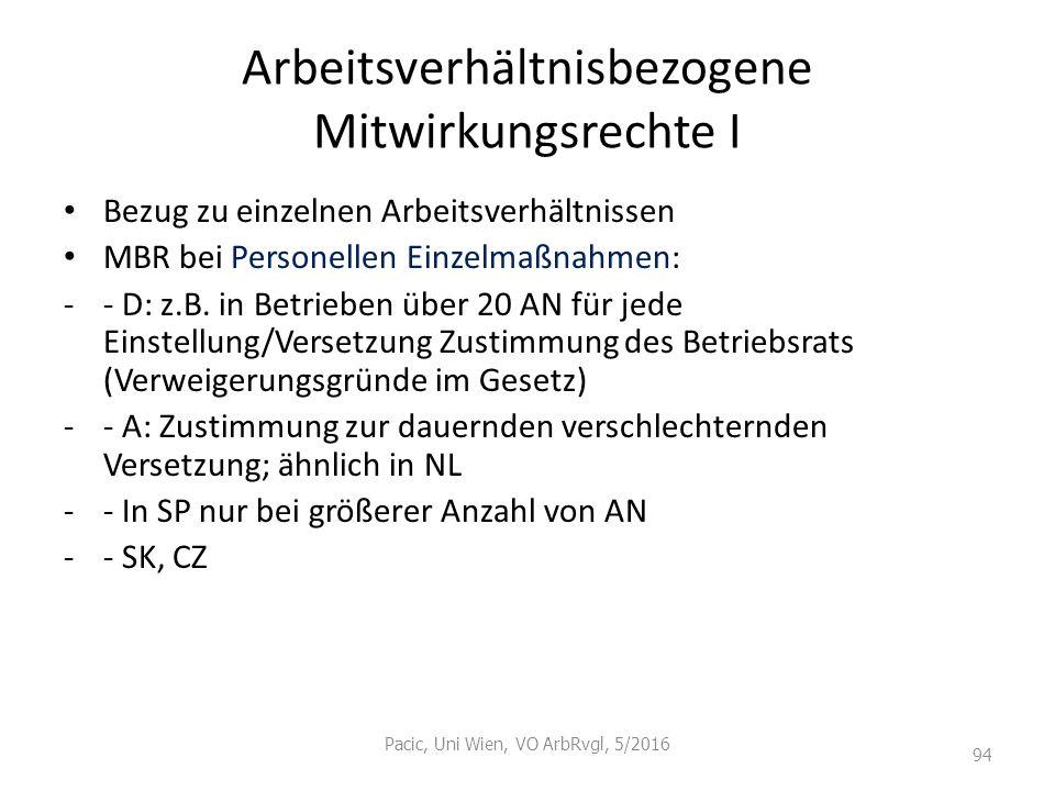 Arbeitsverhältnisbezogene Mitwirkungsrechte I