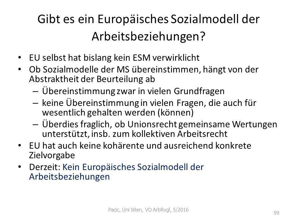 Gibt es ein Europäisches Sozialmodell der Arbeitsbeziehungen