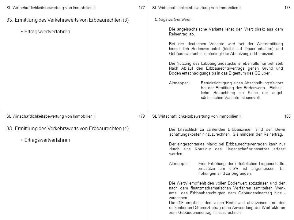 33. Ermittlung des Verkehrswerts von Erbbaurechten (3)