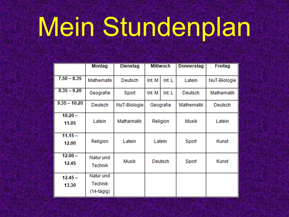 Mein Stundenplan