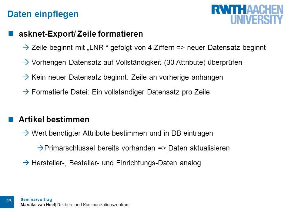 Daten einpflegen asknet-Export/ Zeile formatieren Artikel bestimmen