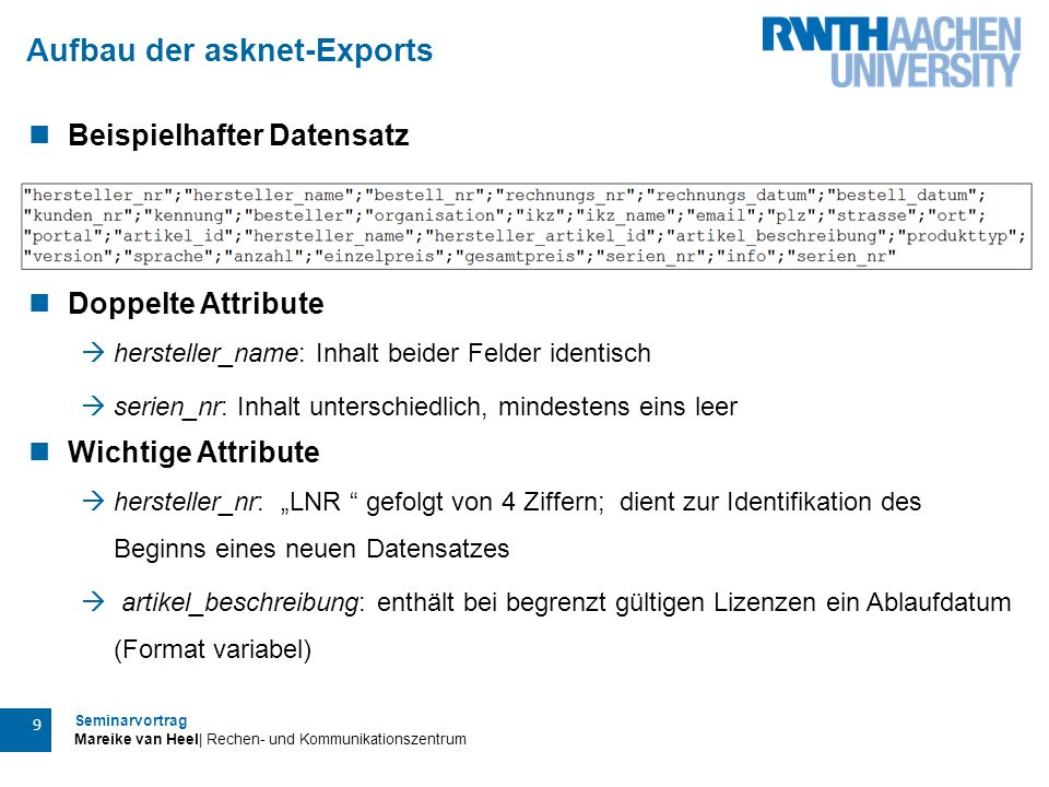 Aufbau der asknet-Exports
